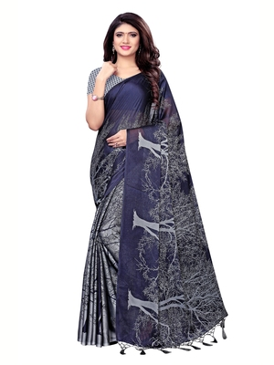 Grey printed shimmer saree with blouse