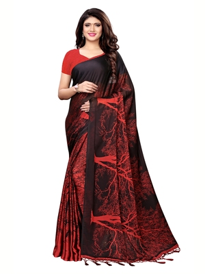 Maroon printed shimmer saree with blouse
