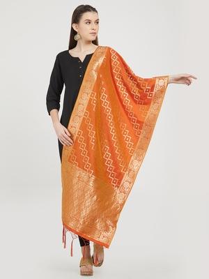 Orange woven banarasi art silk dupatta for women