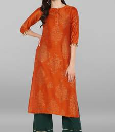Orange printed cotton kurta sets