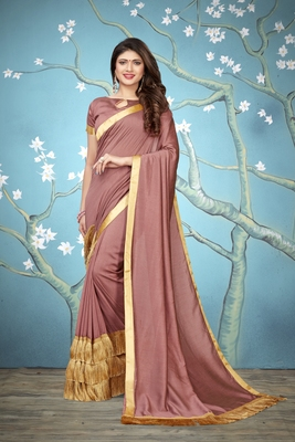 peach woven art silk saree with blouse