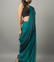 Blue hand woven khadi saree with blouse