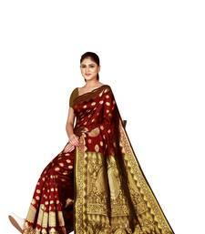 8041dad4acfc18 Maroon Banarasi Art Silk saree With Blouse - Shree Sanskruti - 1166618