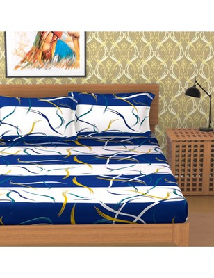 Emart 100% Cotton 104 TC Double Bedsheet with 2 Pillow Cover