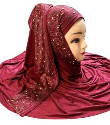 Maroon plain cotton hijab
