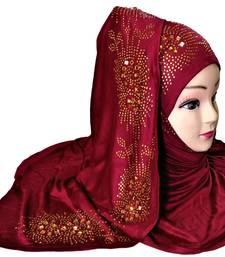 Maroon Plain Cotton Hijab