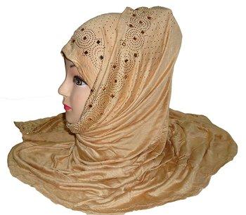 Beige plain cotton hijab
