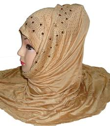 Beige plain cotton hijab