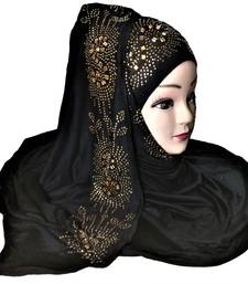 Black Plain Cotton Hijab