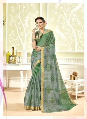 Olive Abstract Print Chanderi Silk Saree With Blouse