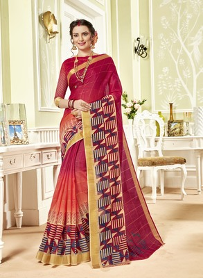 Red Abstract Print Chanderi Silk Saree With Blouse
