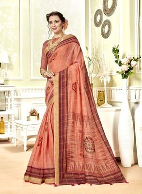 Peach Abstract Print Chanderi Silk Saree With Blouse