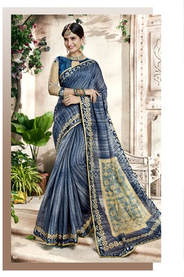 Blue Abstract Print Cotton Silk Saree With Blouse