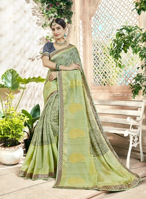 Green Abstract Print Cotton Silk Saree With Blouse