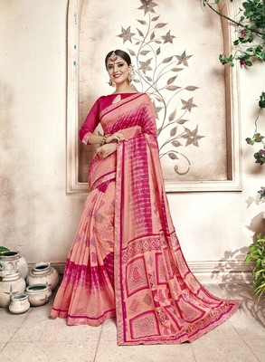 Pink Abstract Print Cotton Silk Saree With Blouse