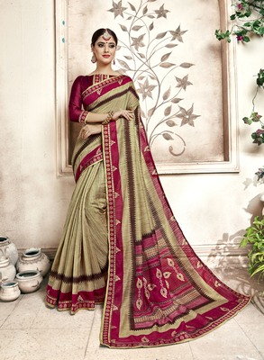 Multicolor Abstract Print Cotton Silk Saree With Blouse