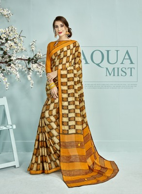 Yellow Abstract Print Silk Saree With Blouse