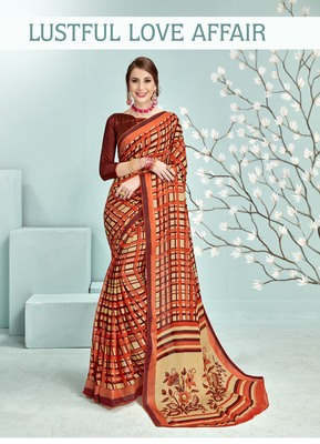 Red Abstract Print Silk Saree With Blouse