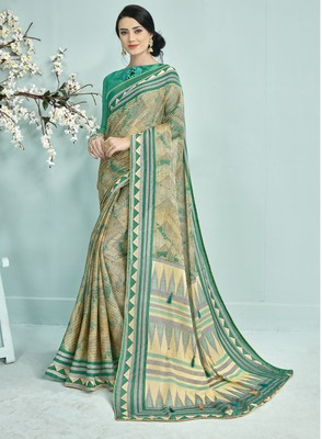 Turquoise Abstract Print Silk Saree With Blouse