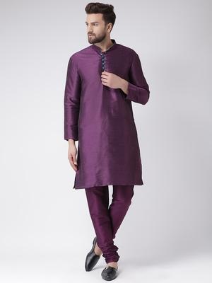 Purple Plain Silk Blend Kurta Pajama