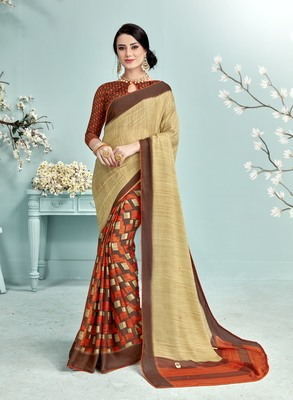 Multicolor Abstract Print Silk Saree With Blouse
