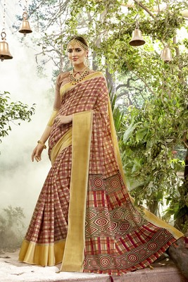 Gold Abstract Print Chanderi Silk Saree With Blouse