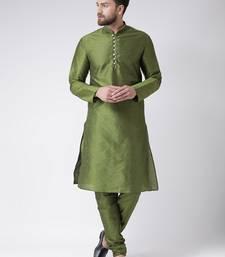 Green plain silk blend kurta pajama