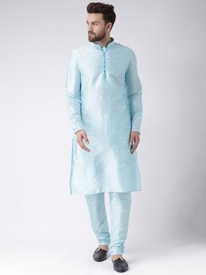 Blue Plain Silk Blend Kurta Pajama