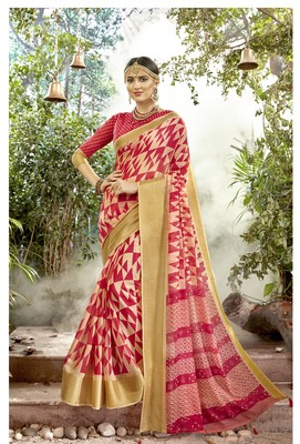 Multicolor Abstract Print Chanderi Silk Saree With Blouse