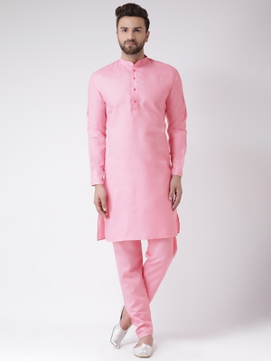 Pink Plain Cotton Kurta Pajama