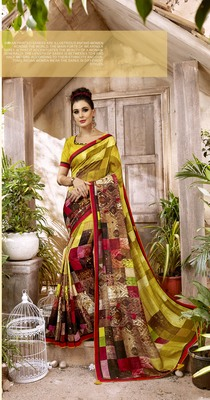 Multicolor Abstract Print Cotton  Saree With Blouse