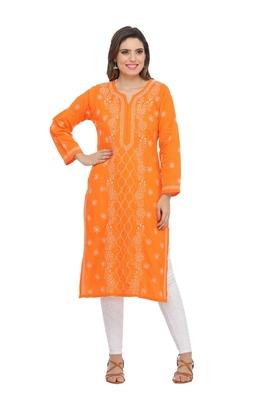 Ada hand embroidered orange cotton lucknow chikankari kurti