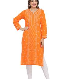 Ada hand embroidered orange cotton lucknow chikankari kurti