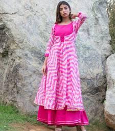 Pink Shibori Rajputi Style Gown
