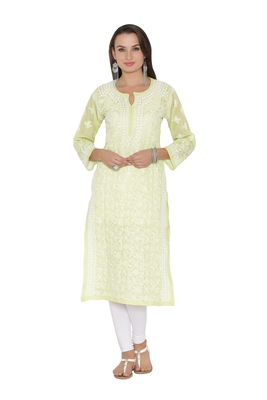 Ada Hand Embroidered Green Cotton Lucknowi Chikan Kurti