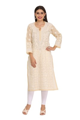 Ada Hand Embroidered Fawn Cotton Lucknow Chikan Kurti