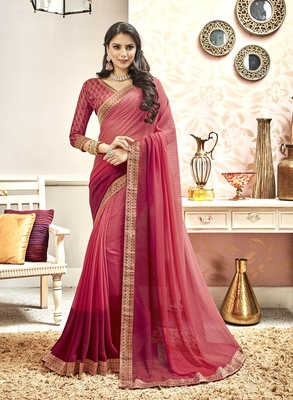 Pink Abstract Print Georgette Saree With Blouse