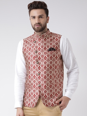 Maroon Woven Polyester Nehru Jacket