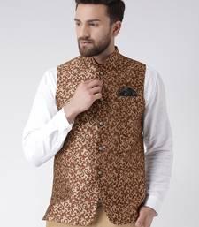Brown Woven Polyester Nehru Jacket
