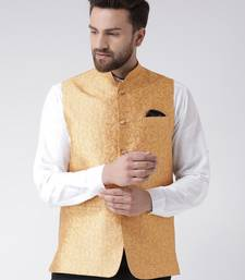 Gold Woven Polyester Nehru Jacket
