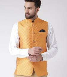 Yellow Woven Polyester Nehru Jacket