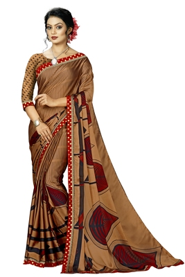 Brown Abstract Print Silk Blend Saree With Blouse