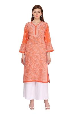 Ada Hand Embroidered Rust Cotton Lucknow Chikankari Kurti