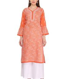 Ada hand embroidered rust cotton lucknow chikankari kurti
