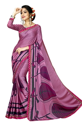 Pink Abstract Print Silk Blend Saree With Blouse