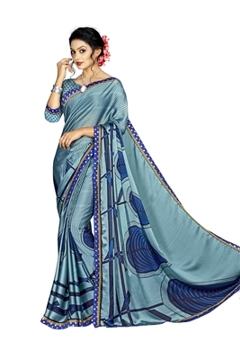 Blue Abstract Print Silk Blend Saree With Blouse