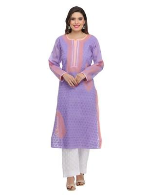 Ada Hand Embroidered Mauve Cotton Lucknow Chikan Kurti