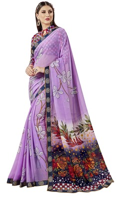 Multicolor Abstract Print Georgette Saree With Blouse