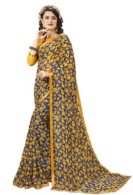 Yellow Abstract Print Georgette Saree With Blouse