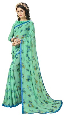 Green Abstract Print Georgette Saree With Blouse